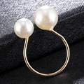 Корейское Открытое кольцо U-образной формы, элегантные регулируемые женские кольца с имитацией жемчуга для вечеринки, подарок на день Свято...
