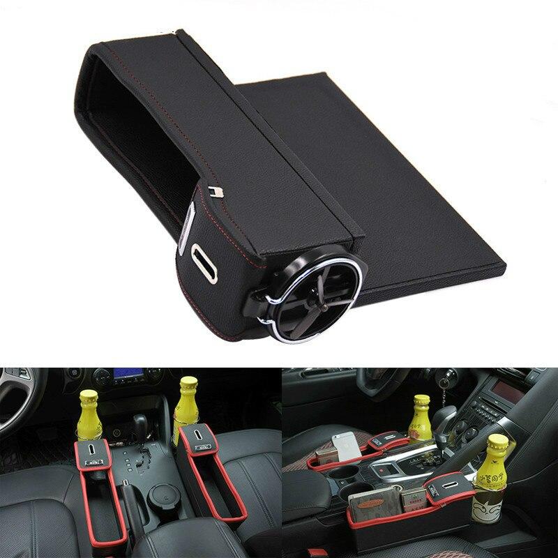 Storage Box Car Organizer Seat Gap PU Case Pocket Car Seat Side Slit for Wallet Phone Coins Cigarette Keys Cards For Universal