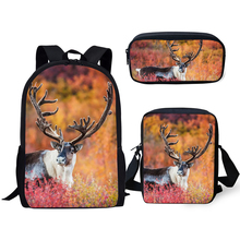 HaoYun Fashion Kids Backpack 3PCs Set Flower Deer Pattern School Book Bags Kawaii Animal Design Students