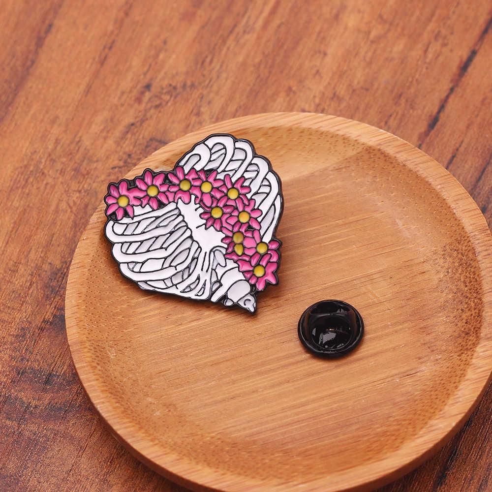 1 Pcs Skull Heart Enamel Pin Bros Bunga untuk Dokter Perawat Tas Ransel Jeans Pakaian Lencana Kerah Pin Bros Obat perhiasan
