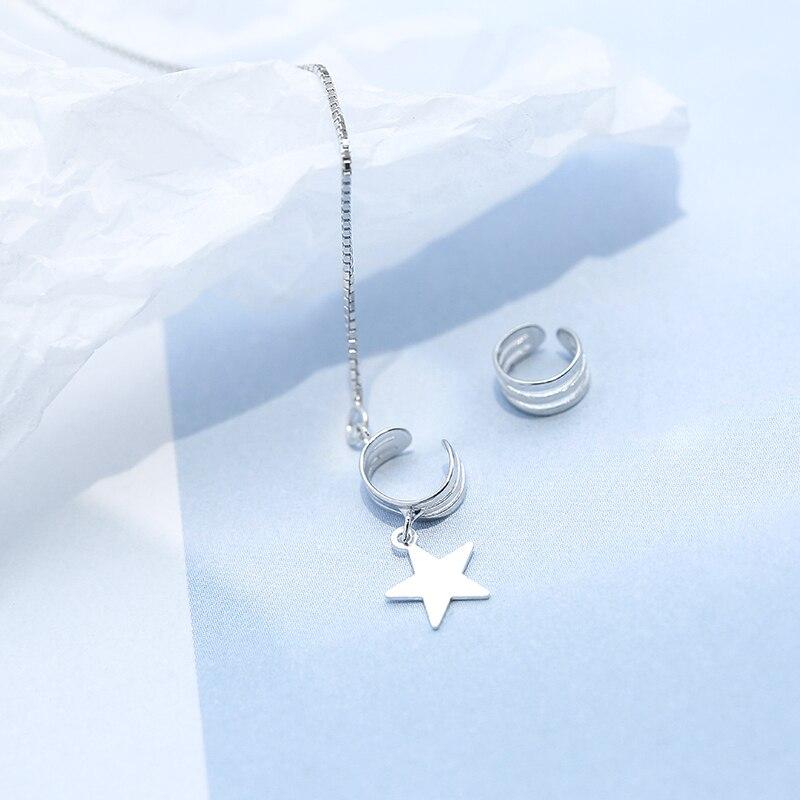 Sweet Style Silver Moon Pendant Long Tassels Chain 925 Earring Asymmetric Ear Cuff Clip on Earring For Girl Christmas Gift