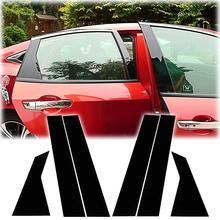6 قطعة العمود ملصقا ل 8/10 أجيال سيفيك سلسلة سيارة نافذة العمود ملصق مزخرفة مرآة الأسود BC عمود غطاء