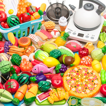 77pcs Plastic Kitchen Toy Shopping Cart Set Cut Fruit and Vegetable Food  Play House Simulation Toys Early Education Girl Gifts