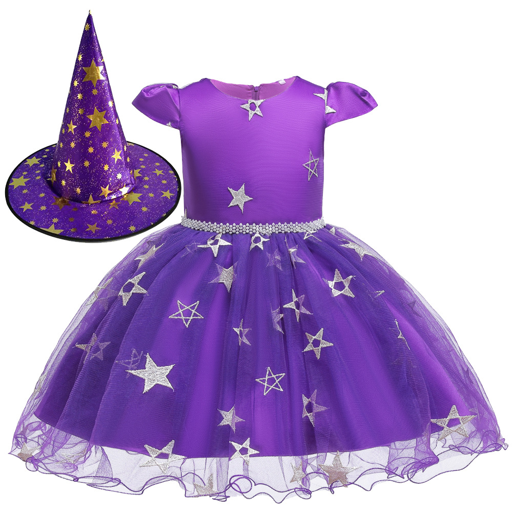 Girls Witch Halloween Christmas Toddler Kids Tutu Dresses Baby Children Clothing Princess Dress Party Costume Clothes 1 2 4 6 8Y 1