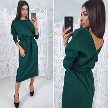 Women Casual Sashes a Line Party Dress Ladies Seven Sleeve Spring Dress