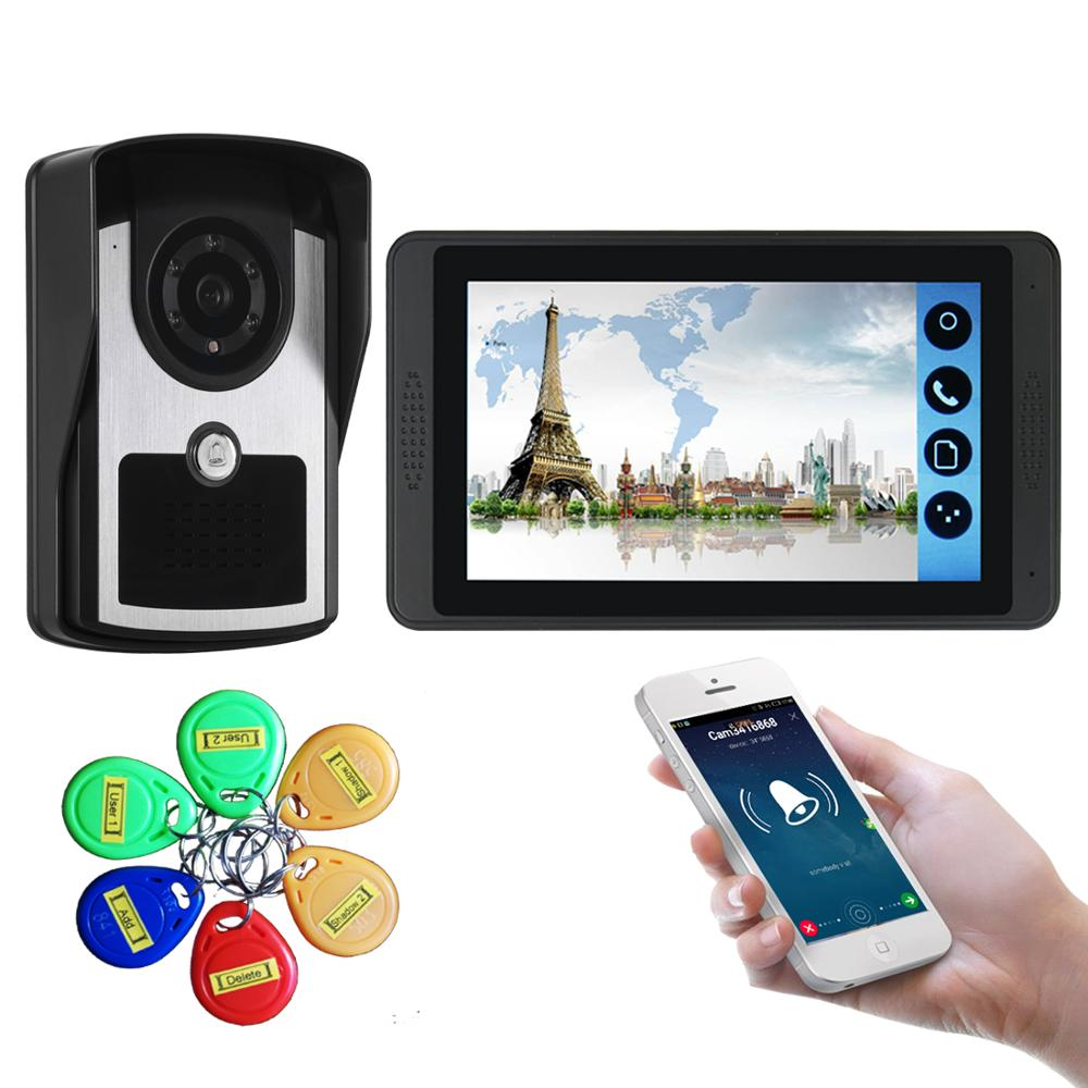 7'' WiFi Video Doorbell Capacitive Touch Screen 6 User ID Cards Phone Photo Night Vision Home Intercom Apartment Wired Door Bell