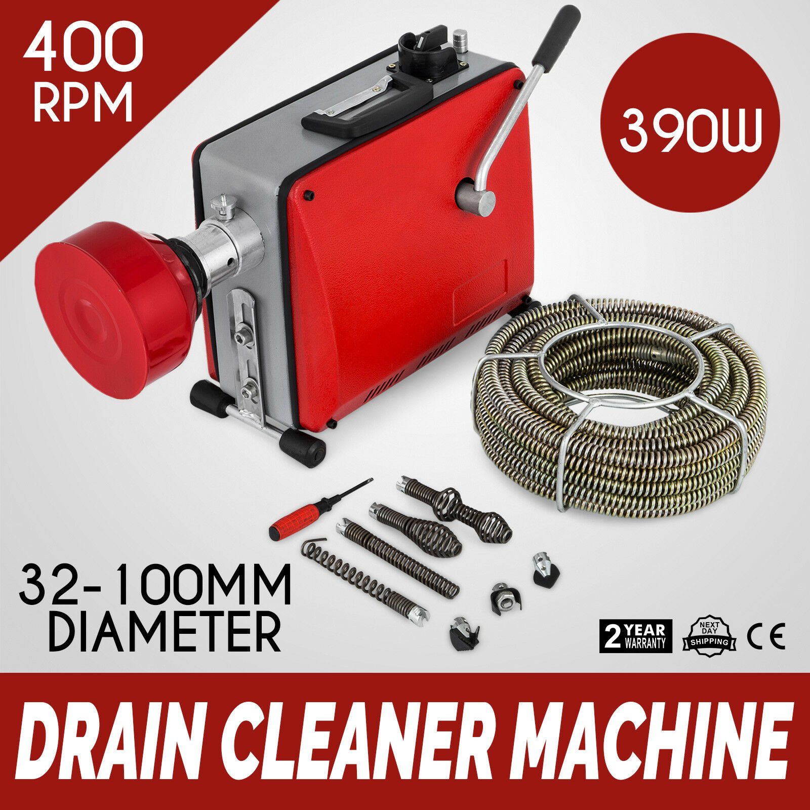 32-100mm Pipe Cleaning Machine 390W Pipe Cleaner Sewage Electric Plumbing