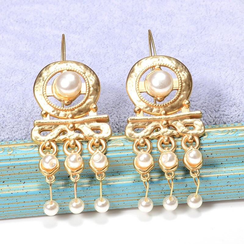 Женские золотые висячие серьги ZA, длинные ювелирные изделия из жемчуга, аксессуары для женщин, рождественский подарок, оптовая продажа
