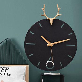 Metal Luxury Wall Clock Nordic Deer Head 3d Living Room Wall Clock Creative Art Reloj Pared Madera Wall Watch Home Decor DD45WC