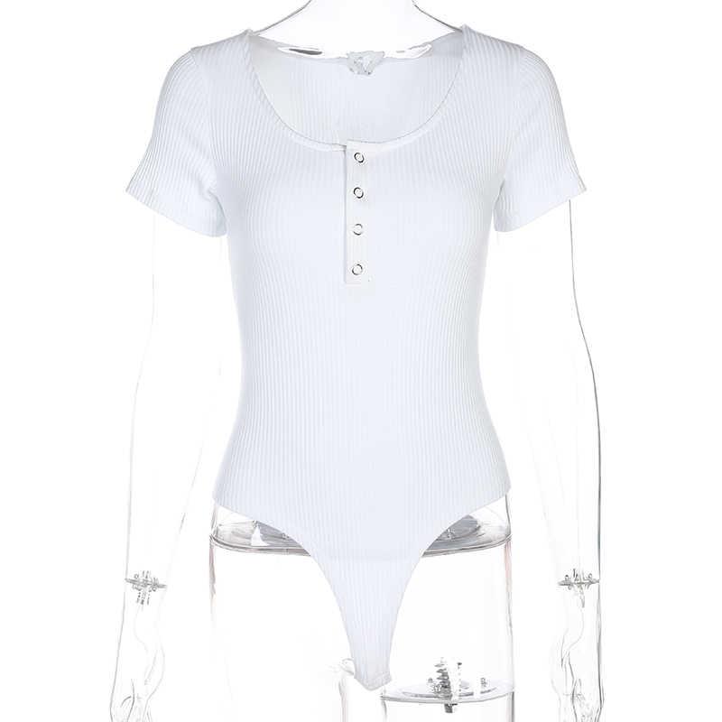 Darlingaga nervürlü yaz seksi siyah Bodysuit kadın sıska düğmeler şeffaf vücut Mujer kısa kollu moda Bodysuits üstleri tulum