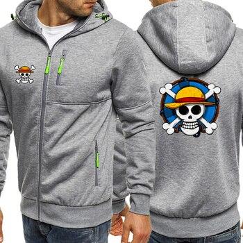 One Piece Skull Luffy Male Fleece Hoodies 2019 Hot Selling Mens Biker Clothes Hip Hop Anime Men Tracksuit Casual Warm Jacket Zip