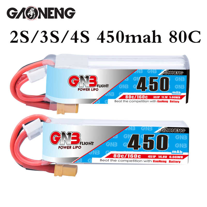 Gaoneng Gnb 2S 3S 11.1V 4S 14.8V 450 MAh 80C Pin Lipo XT30 Phích Cắm RC Cinebee Cine Whoop Betafpv Quadcopter Đựng Tăm Drone
