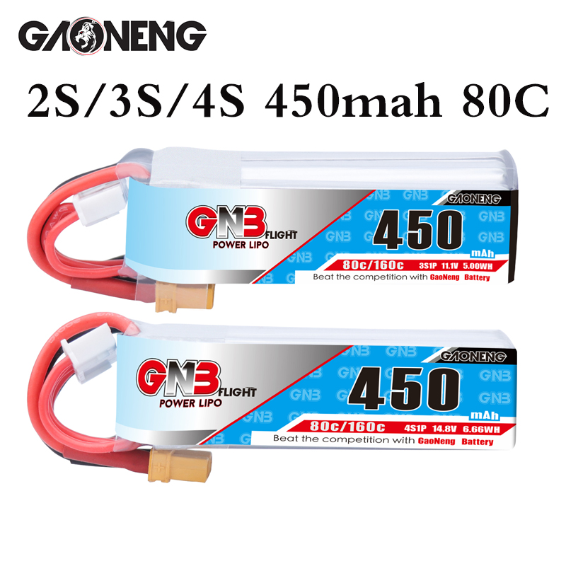 Gaoneng GNB 2S 3S 11.1V 4S 14.8V 450MAH 80C Lipo batterie XT30 prise pour RC CineBee Cine Whoop BetaFPV quadrirotor cure-dents Drone