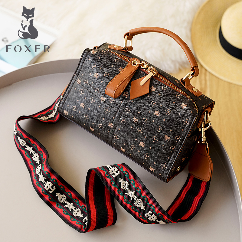 FOXER Embossing Ladies Box Messenger Bag Women Vintage Lady PVC Handbag Gentlewoman Small Square Totes Fashion Wild Shoulder Bag