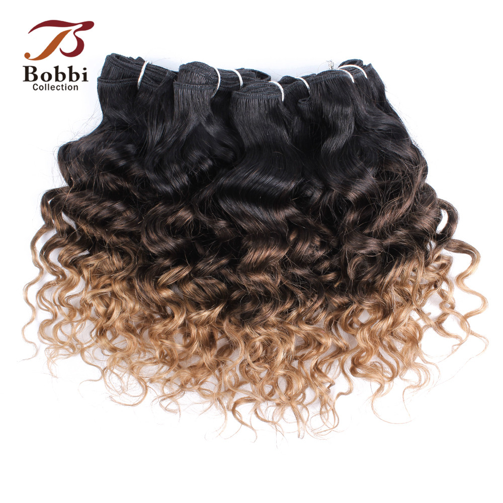 Bobbi Collection T 1B 27 Ombre Honey Blonde Dark Brown Brazilian Water Wave Hair Weave Bundles Non-Remy Human Hair Extension