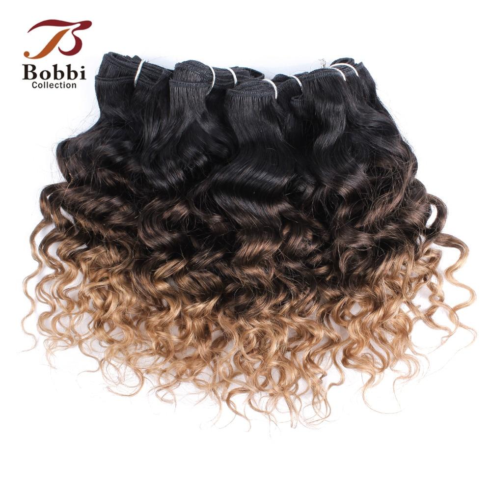 Bobbi Collection T 1B 27 Ombre Honey Blonde Dark Brown Brazilian Water Wave Hair Weave Bundles Non-Remy Human Hair Extension