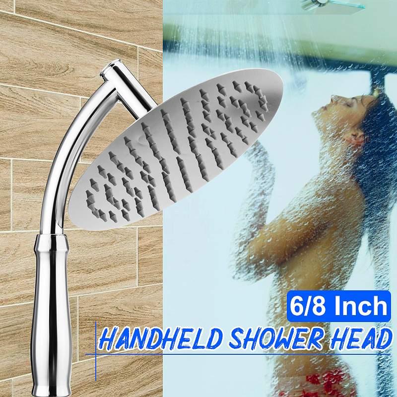 6/8 Inch Round Stainless Steel Chrome Rain Shower Head Rainfall Bathroom Top Sprayer High Pressure Water Saving