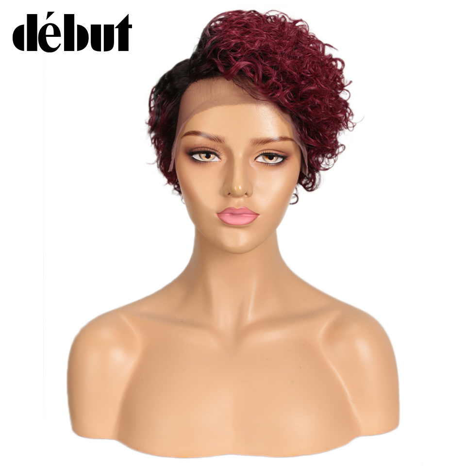 Debut Ombre Human Hair Wigs Short Curly Bob Lace Front Human Hair Wigs 99J Red Pixie Cut Lace Part Human Hair Wigs Cheap