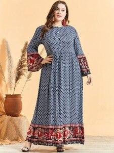 Image 5 - Feminino étnico impressão alargamento manga vestido muçulmano cintura alta botão bainha grande ramadã árabe vestido vestidos plus size m 3xl 4xl