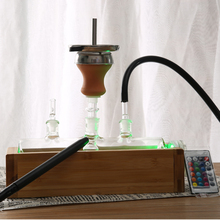 HOOKAH HY MP5 tank glass chicha with wooden bamboo box base clay bowl head metal pipe shisha hookah led light remote control 1piece lot centerpiece lighting remote controlled 8inch spot led light base for centerpiece table vase shisha hookah decor
