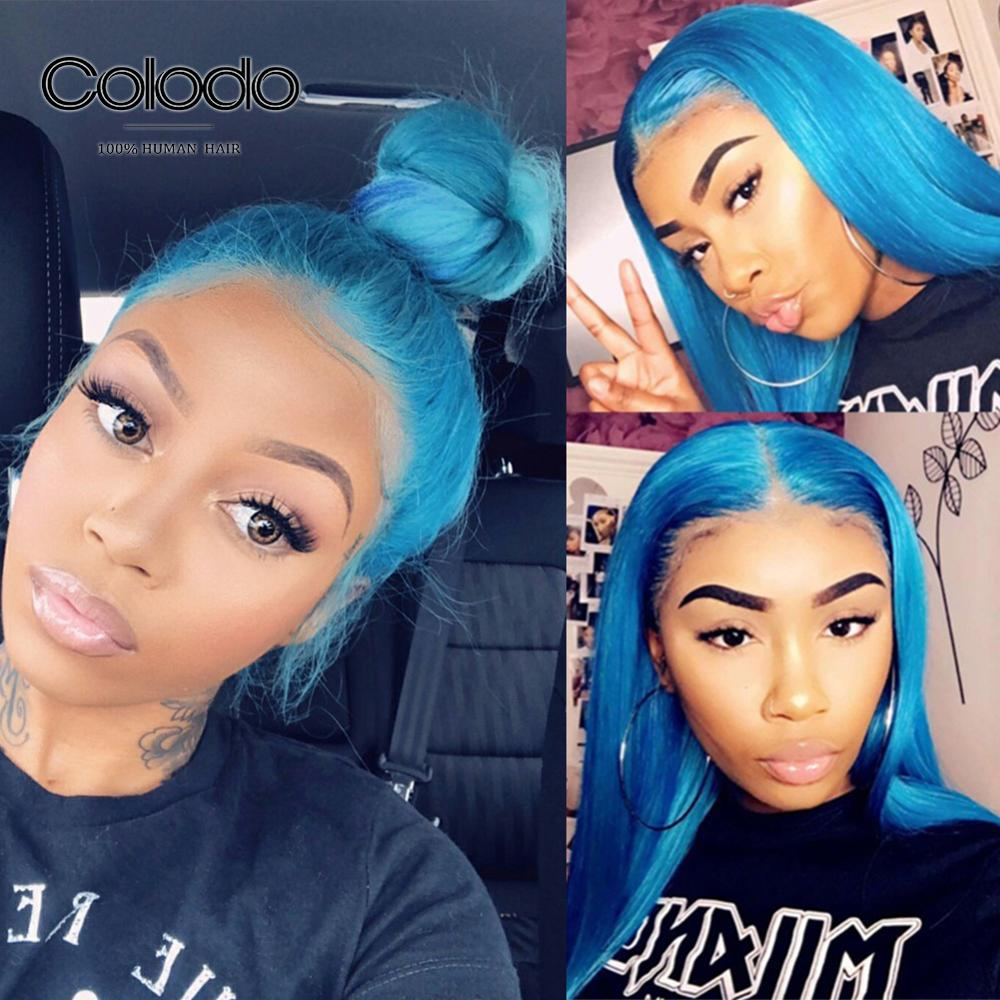 COLODO 13x6 Sky Blue Straight Lace Front Wig Preplucked Baby Hair Brazilian Remy 130 Purple Lace Front Human Hair Wigs For Women