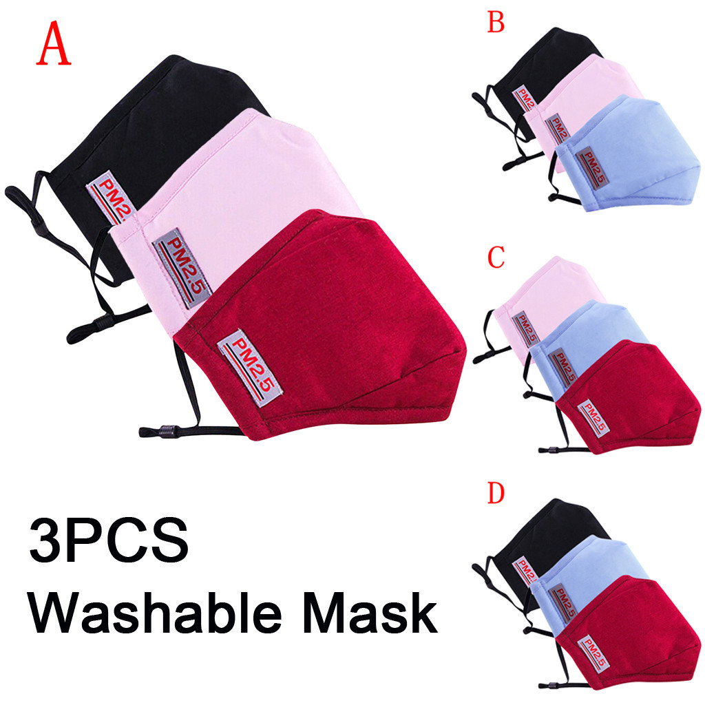 2/3PCS Facemask PM2.5 Anti-dust Reusable Cotton Mouth Face Masks Mouth Cover Protection Breathable Respirator Mascarillas Masque