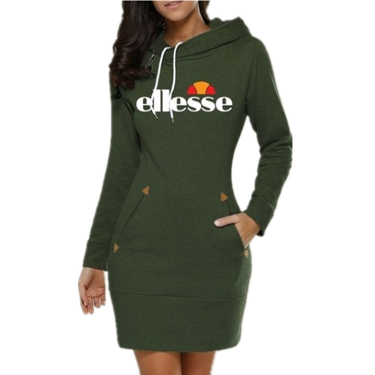 AliExpress New Style Printed Pullover Zipper Hooded Long Sleeve Mid-length Hoodie WOMEN'S Dress