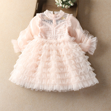 baby spring dress layered lantern sleeve girls dress lace infant birthday Princess Dress children clothes 4-9y girl clothes