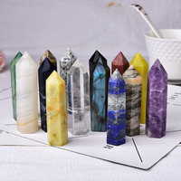 1pc natural stones crystal point 36 color tower amethyst rose quartz healing stone energy ore mineral obelisk home ornaments