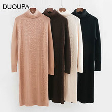 DUOUPA 2019 Autumn and  Winter New Fashion Knit Sweater Dress High Collar Thick Slim Long Cotton Loose