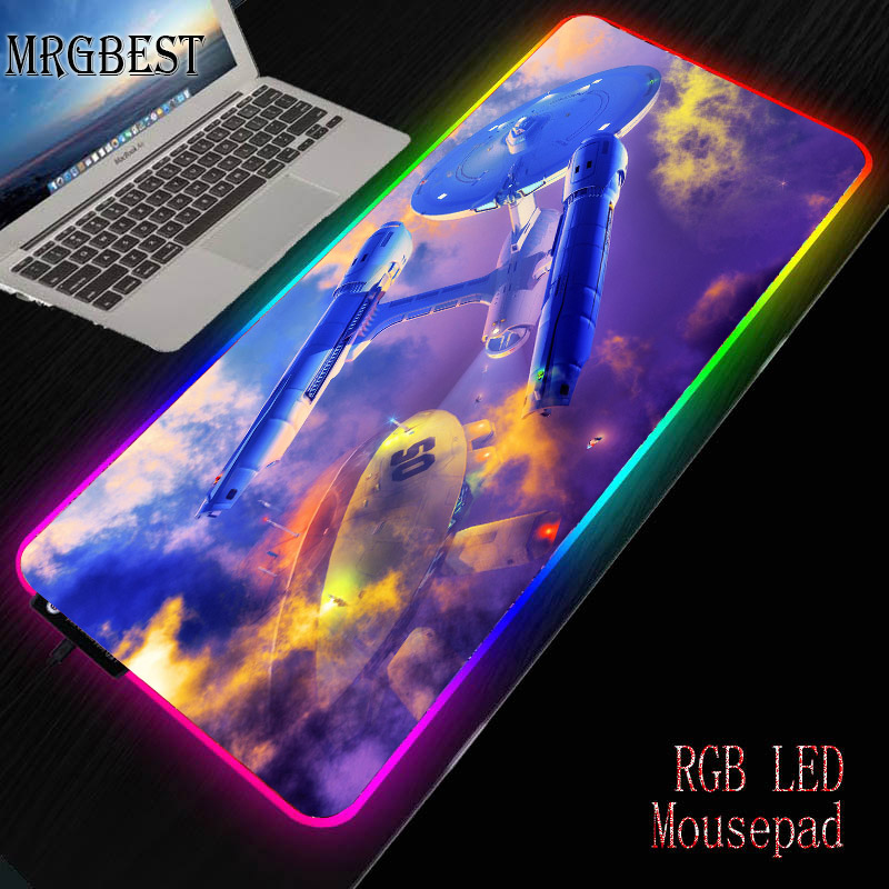 MRGBEST Star Wars Anime Game RGB Large Game Player Mouse Pad Anime Style Computer Locked Mousepad LED Backlit Keyboard Desk Mat image