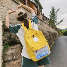 Casual Waterproof Clear Women Backpack Cute Nylon Travel Schoolbags Kawaii Small Duck Student Back Pack Teen Girls Bookbags New