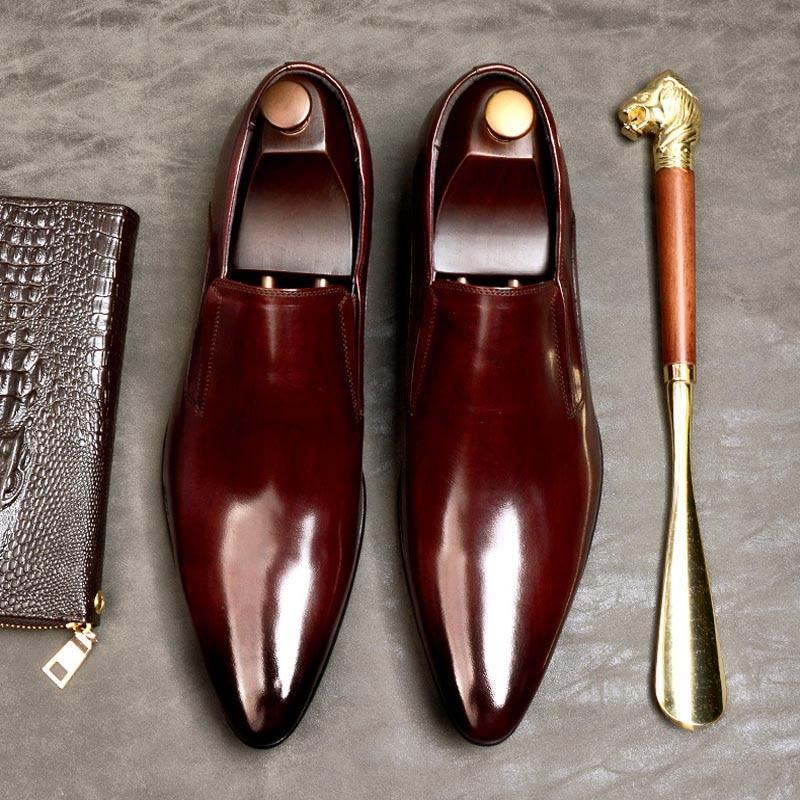 Men Dress Shoes Men Slip On Formal Wedding Shoes Pointed Toe Fashion...