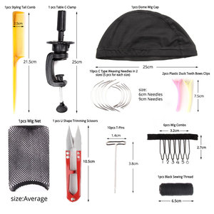 """Image 3 - AliLeader 21"""" 25"""" Professional Canvas Block Mannequin Head Stand Wig Cap For Wig Making Kit Tools Holder Hair Net T Pins Comb"""