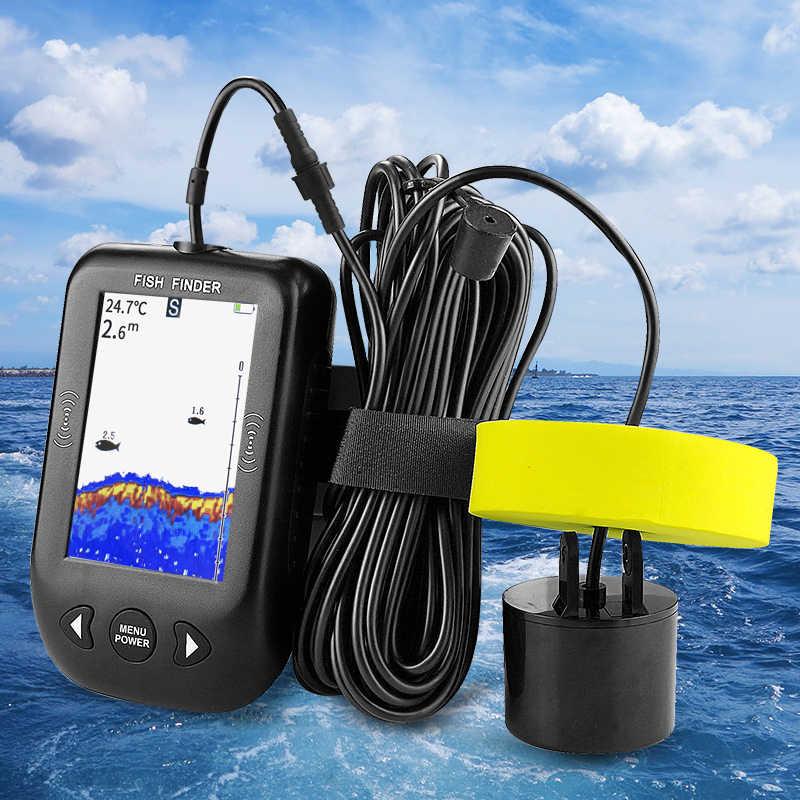 Erchang XF02 Transducer Fishfinder 100 M Diepte Alarm Echolood Lcd Kleurrijke Scherm Sonar Voor Vissen