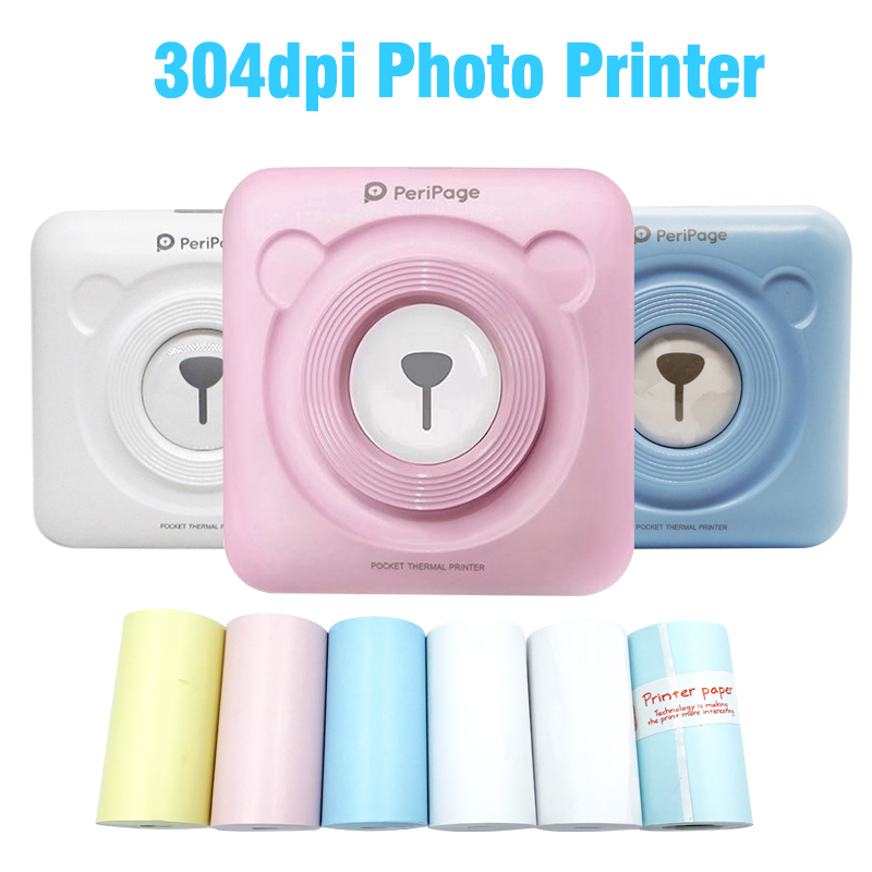 Peripage 304DPI Bluetooth Portatile Mini Stampante Fotografica Pocket Mini Sticker stampante Termica per Android iOS phone Oltremare Versione title=