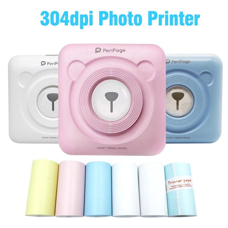 Peripage 304DPI Bluetooth Tragbare Mini Foto Drucker Tasche Mini Aufkleber Thermische drucker für Android iOS telefon Oversea Version