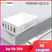 """שולחן עבודה סוג C PD45W QC3.0 USB 5V2.4A מטען עבור Macbook מחשב נייד Tablet טלפון QC 3.0 מהיר טעינת האיחוד האירופי ארה""""ב AU בריטניה תקע מטען קיר"""