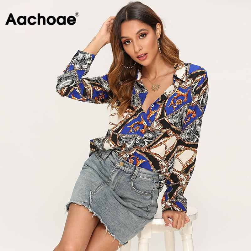 Blouse Women Long Sleeve Leisure Shirt 2020 Vintage Chain Print Casual Blouses Turn Down Collar Ladies Office Tops Plus Size XXL