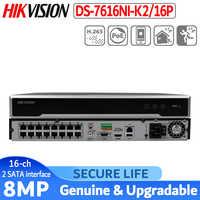 W magazynie wersja międzynarodowa DS-7616NI-K2/16 P 16ch H.265 NVR 4K dla kamer do 8MP plug & play NVR 2 SATA 16 POE