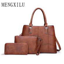 Retro 3pcs Women Bags 2019 PU Leather Handbag Women Large Tote Bags Ladies Shoulder Bag Handbag Messenger Bag Purse Sac A Main tuladuo retro handbag tote purse vintage shoulder bag full ball women cross body bags doctor bag letter scrub leather handbag