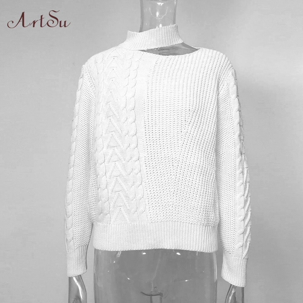 Closeout DealsArtsu Oversized Sweaters Bare Knitted Shoulders Winter Casual Solid ASSW60310 New