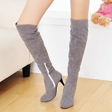 Winter Shoes Woman 2019 Women Over The Knee Boots Sexy Thin High Heels Ladies Snow Boots Zipper Footwear Solid Color Botas#N20(China)
