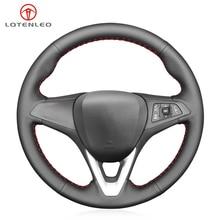 LQTENLEO Black Artificial Leather Steering Wheel Cover For Opel Astra K Corsa (E) Karl 2014 2020 Crossland X Grandland X Zafira