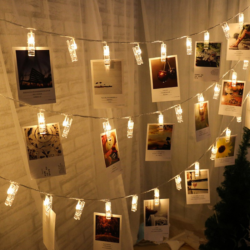 LED String Lights Card Photo Clip Holder Fairy Garland Lamp For Christmas Wedding New Year Party Decoration Holiday Lamp