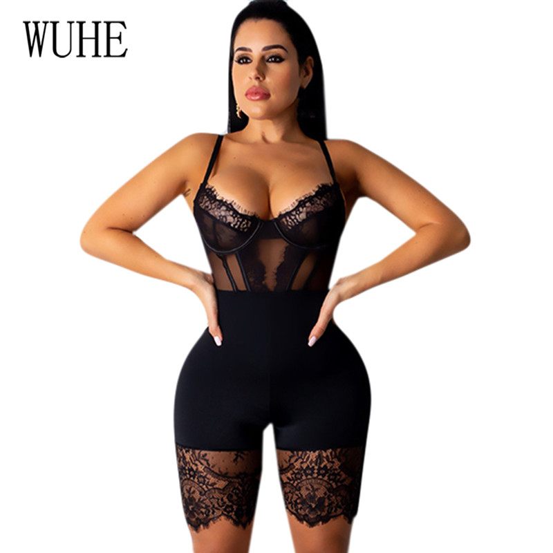 WUHE Lace Patchwork Sexy Spaghetti Strap Jumpsuits Women Off Shoulder Sleeveless Elegant Bodycon Bandage Party Short Playsuits