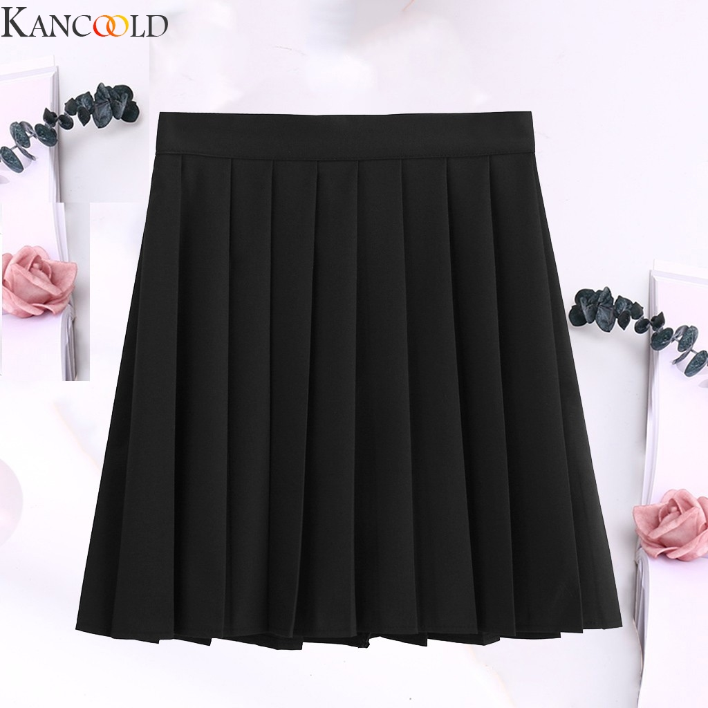 KANCOOLD Womens Mini Skirt Fashion Pure Color Pleated Club Sexy Skirt High Waist Cute Sweet Girls Dance Comfortable New Arrival
