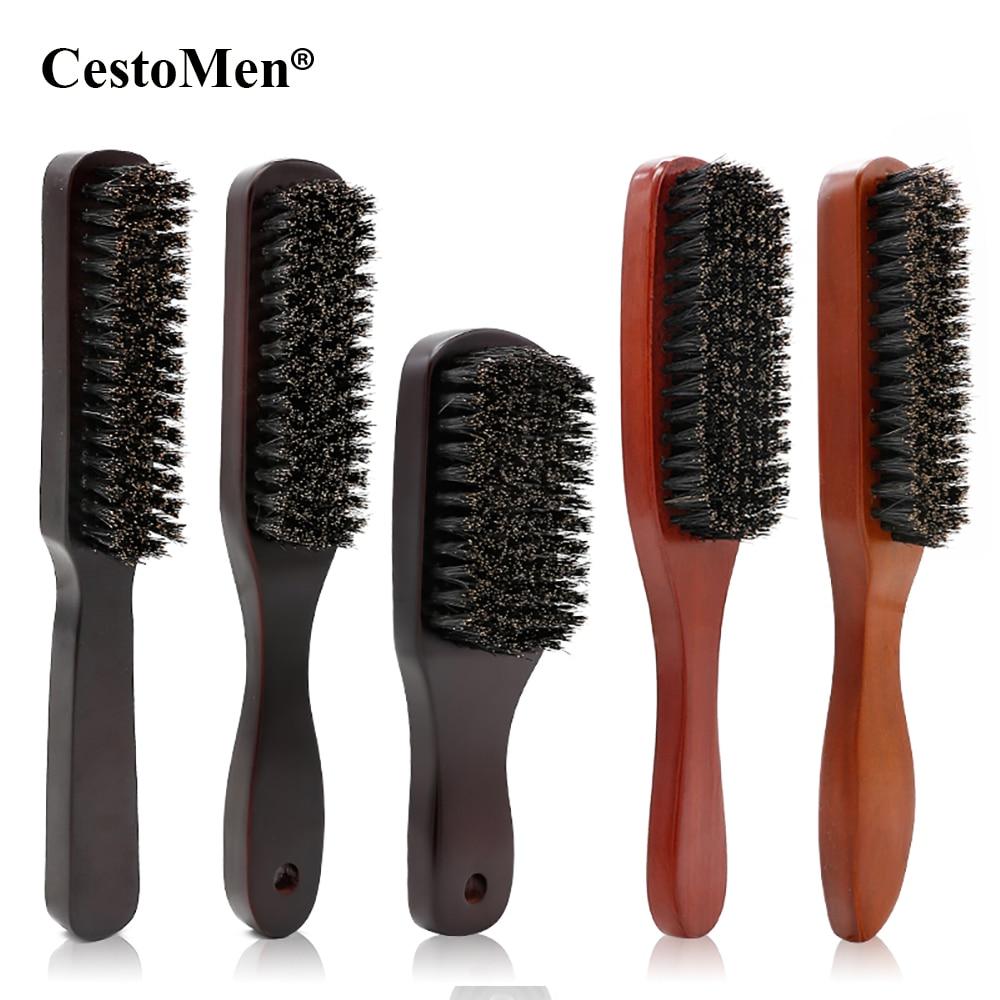 CestoMen Solid Wood 100% Boar Shaving Brush Beard Massage Black Boar Bristle Hair Brush Curved Wooden Men Beard Mustache Brushes