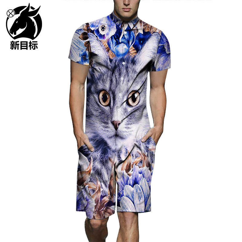 Onesie Short Sleeve  New Style Creative Flower Cat 3D Printed Hot Selling Shirt Bib Overall Men