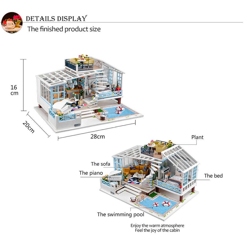 MÔ HÌNH NHÀ GỖ DIY Nhà Búp Bê Bộ Mô Hình 3D Đồ Nội Thất Gỗ TỰ LÀM Thu Nhỏ Nhà Búp Bê Bộ Đồ Chơi Người Lớn Trẻ Em Quà Tặng có đèn LED Trang Trí Nhà Cửa